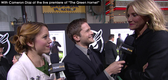 With Cameron Diaz at the live premiere of The Green Hornet